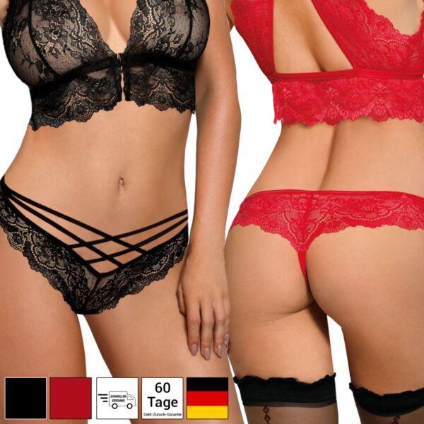 Unterwäsche Damen Dessous Reizwäsche Sexy Mini String Tanga – Schwarz Rot S-XL