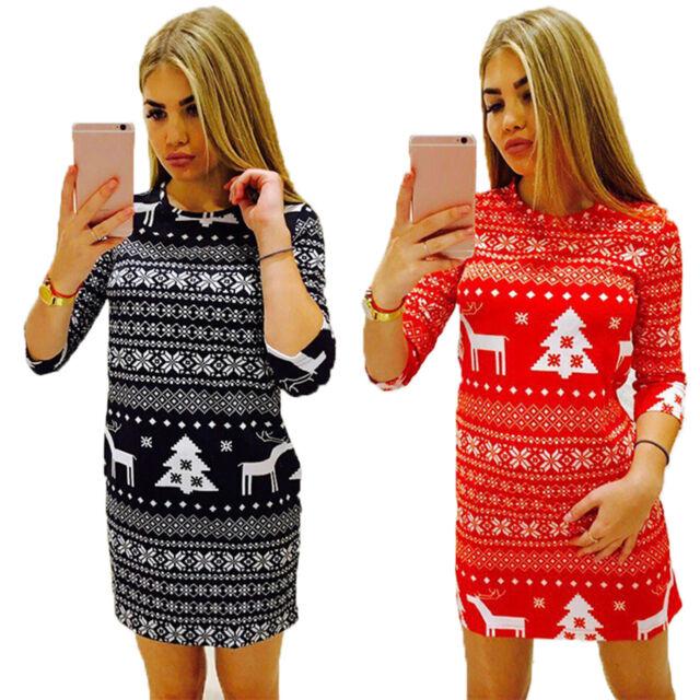 Ladies Christmas Party Mini Dress Long Sleeve Bodycon  Swing Skater Vintage Top