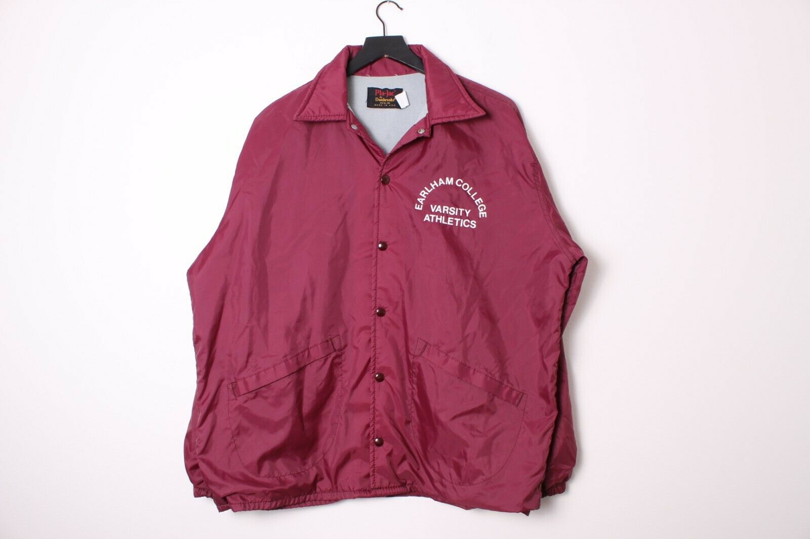 Vintage 80's USA-Made Earlham College Varsity Athletics Nylon Jacket - Large
