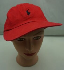 Polo-Golf-Ralph-Lauren-Hat-Red-Stitched-Adjustable-Baseball-Cap-Pre-Owned-ST229