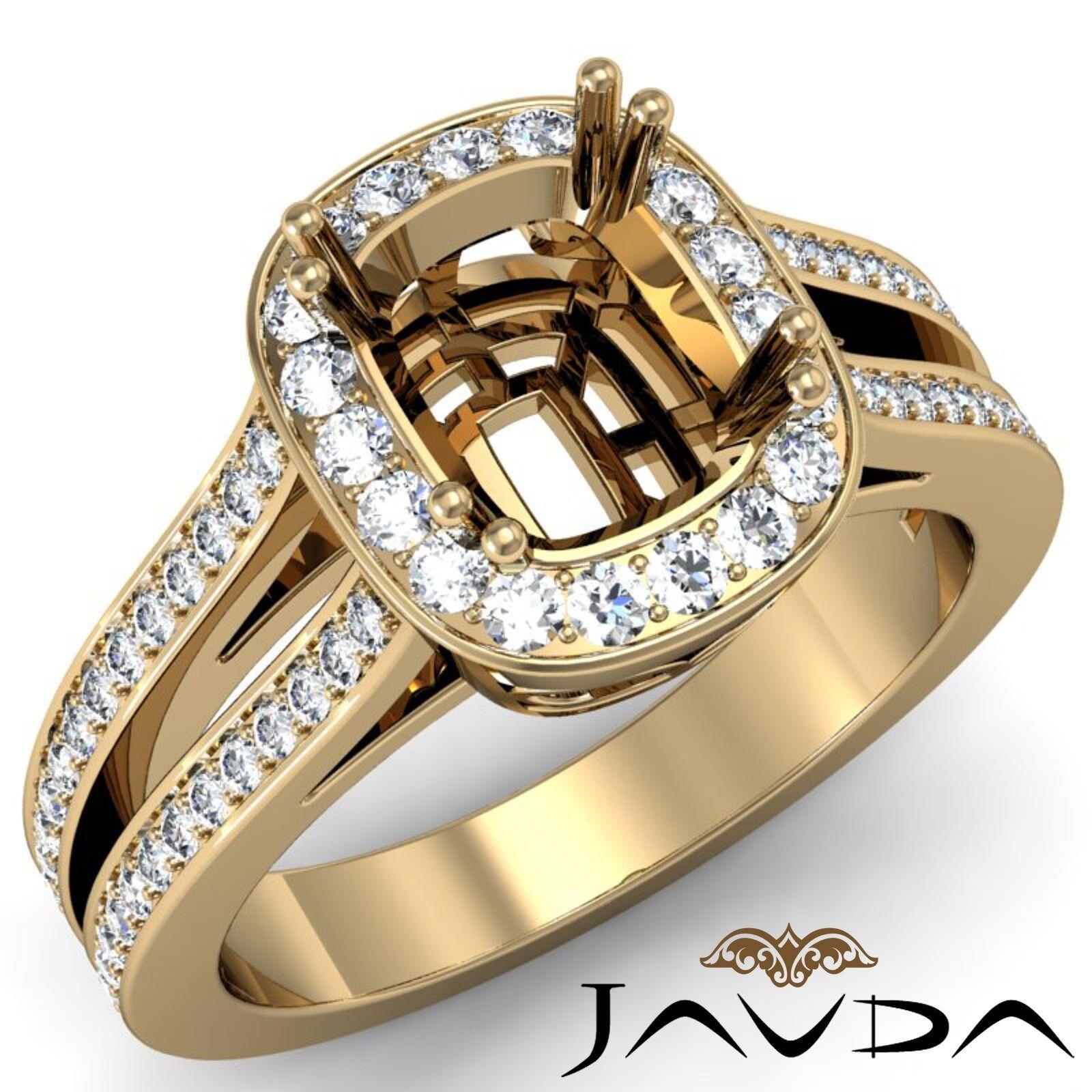 0.86Ct Cushion Diamond Engagement Ring 18k Yellow gold Halo Setting Semi Mount