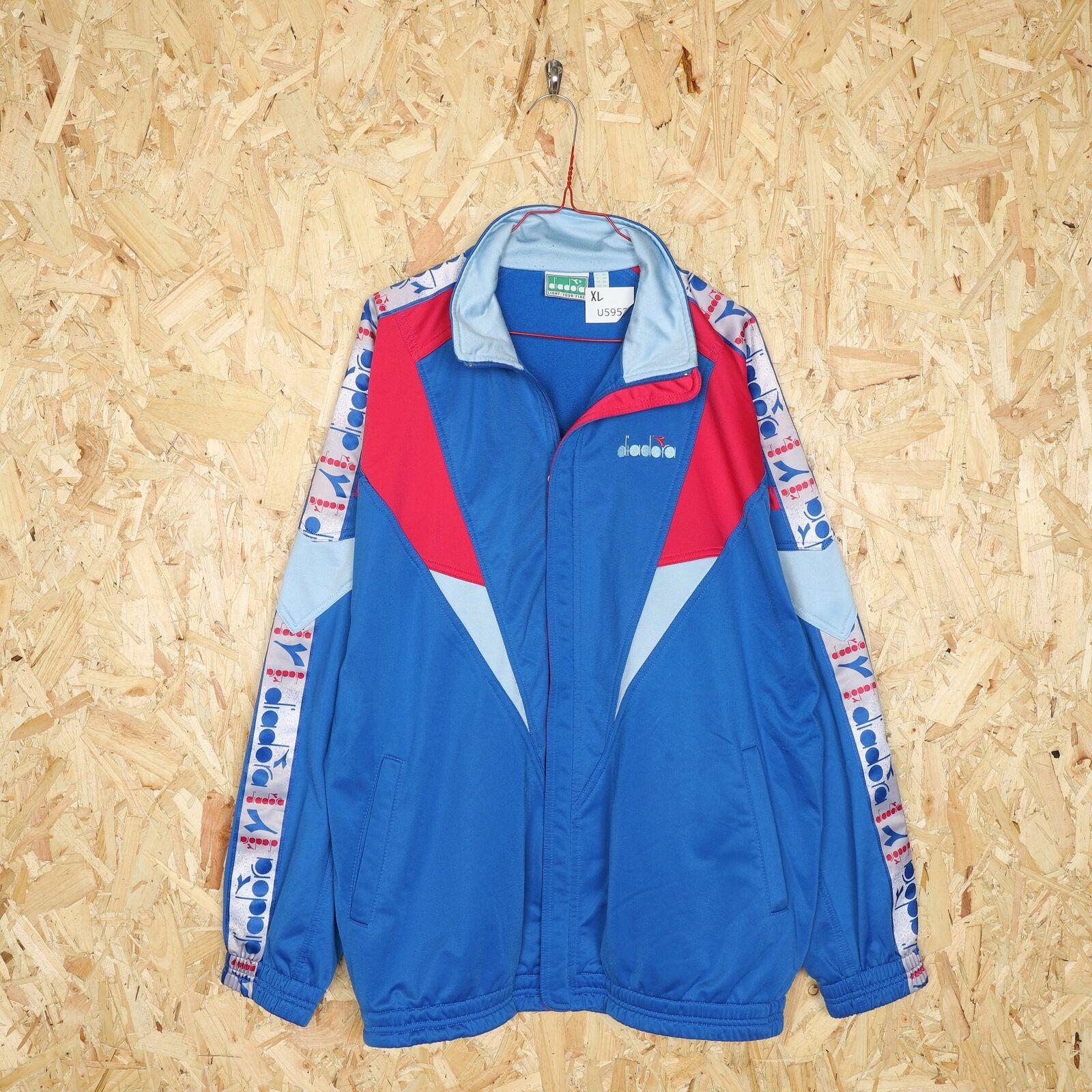 90s DIADORA Tape Logo Tracksuit Top Jacket Blue | XL