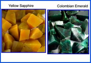 Colombian Emerald & Yellow Sapphire 2000 Ct Natural Gemstone Polished Rough Lot