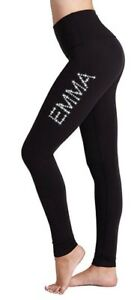 Personalised-LYCRA-Black-Dance-Gymnastic-Gym-Leggings-Silver-Pink-Glitter-Text