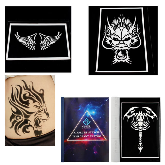Airbrush Tattoo Stencils Temporary Tattoostemplate With A4 Reusable ...