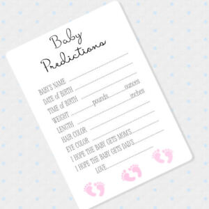 image is loading 50 baby girl prediction cards baby shower advice