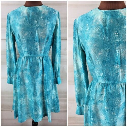 Vintage 60s 70s silk marbled blue dress classic ta