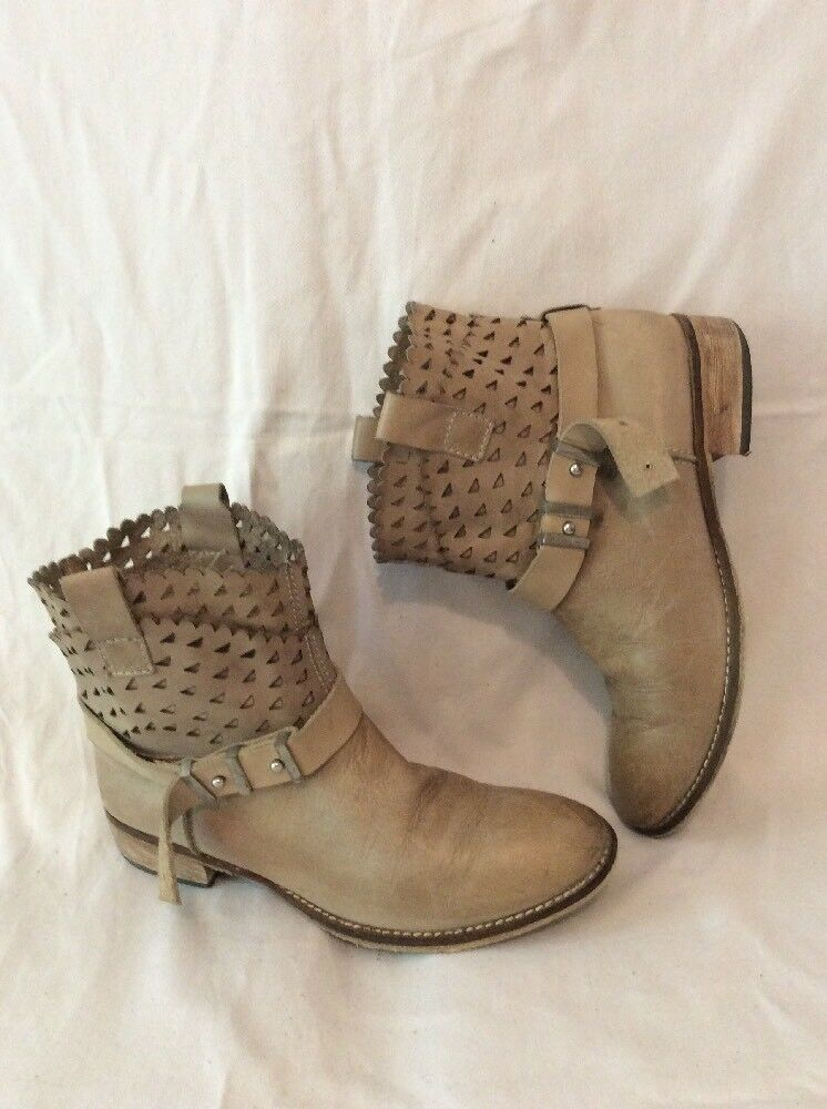 Pepa Brown Ankle Leather Boots Size 38