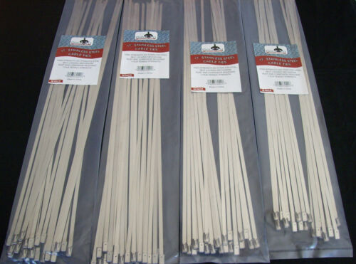 "100 GOLIATH INDUSTRIAL 17"" STAINLESS STEEL WIRE CABLE ZIP TIES STRAPS WHOLESALE"