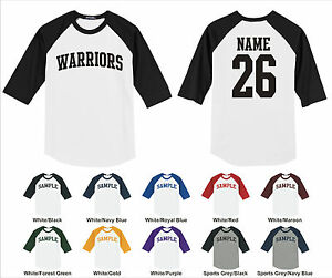 Details About Warriors Custom Personalized Name Number Raglan Baseball Jersey T Shirt
