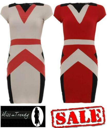 New Ladies Rib Bandage Contrast Bodycon Stretch Sleeveless Mini Party Dress