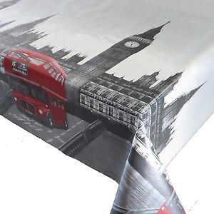 Wachstuch-Breite-140-cm-Laenge-waehlbar-London-Rot-Abwaschbare-Tischdecke