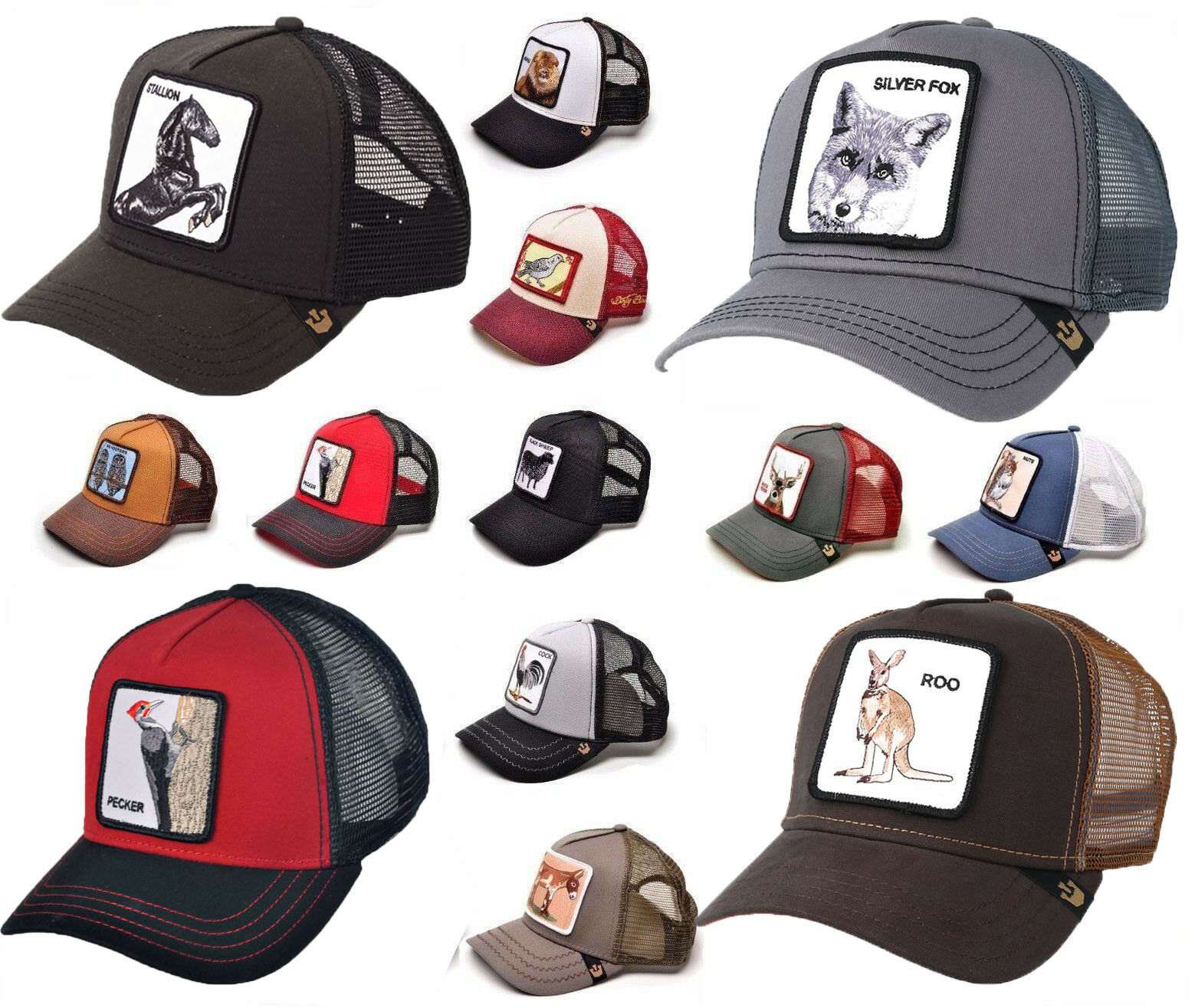 3c588ed9d11ea Goorin Bros Animal Farm Snapback Trucker Hat Cap Rooster Stallion Pecker  Lion