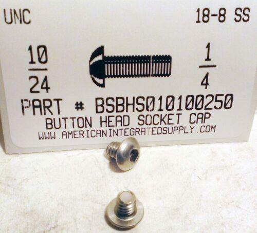#10-24x1//4 Button Head Hex Socket Cap Screws Stainless Steel 45