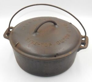 Vintage Griswold No 8 Cast Iron Tite Top Round Dutch Oven W Lid