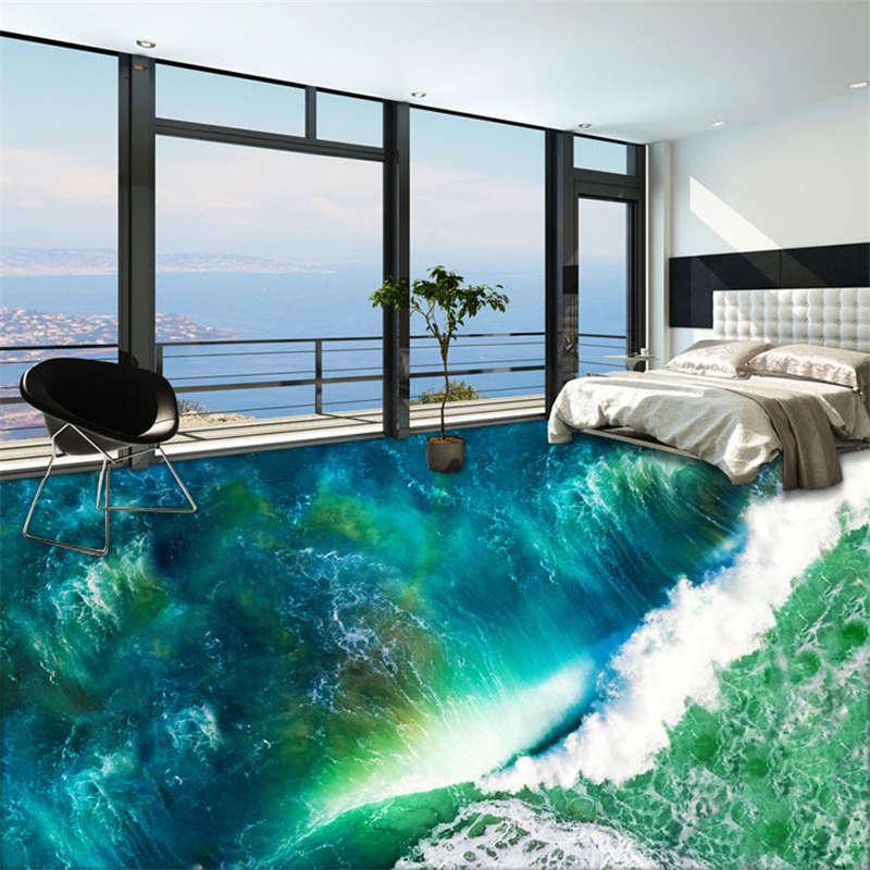 Sea Ocean Foam Sky 3D Floor Mural Photo Flooring Wallpaper Home Kids Wall Decal