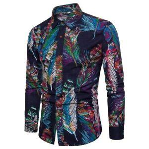 Men-039-s-formal-floral-stylish-casual-t-shirt-dress-shirt-long-sleeve-tops-slim-fit