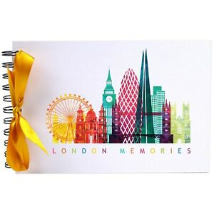 Details about Ribbon, London Memories, Photo Album, Scrapbook, Blank White  Pages, A5