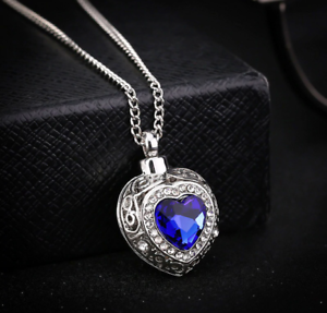 Blue Sapphire Crystal Heart Cremation Ashes Urn Necklace Keepsake FuneralUK