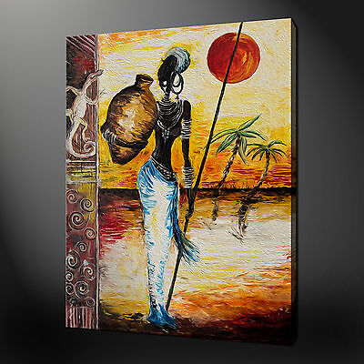PAINTING STYLE AFRICAN PREMIUM CANVAS PRINT PICTURE WALL ART DESIGN FREE UK P&P