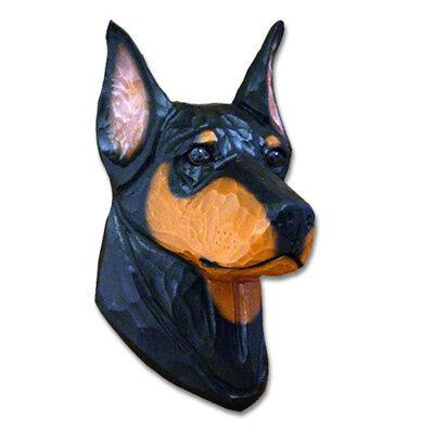 Doberman Pinscher Head Plaque Figurine Black//Tan
