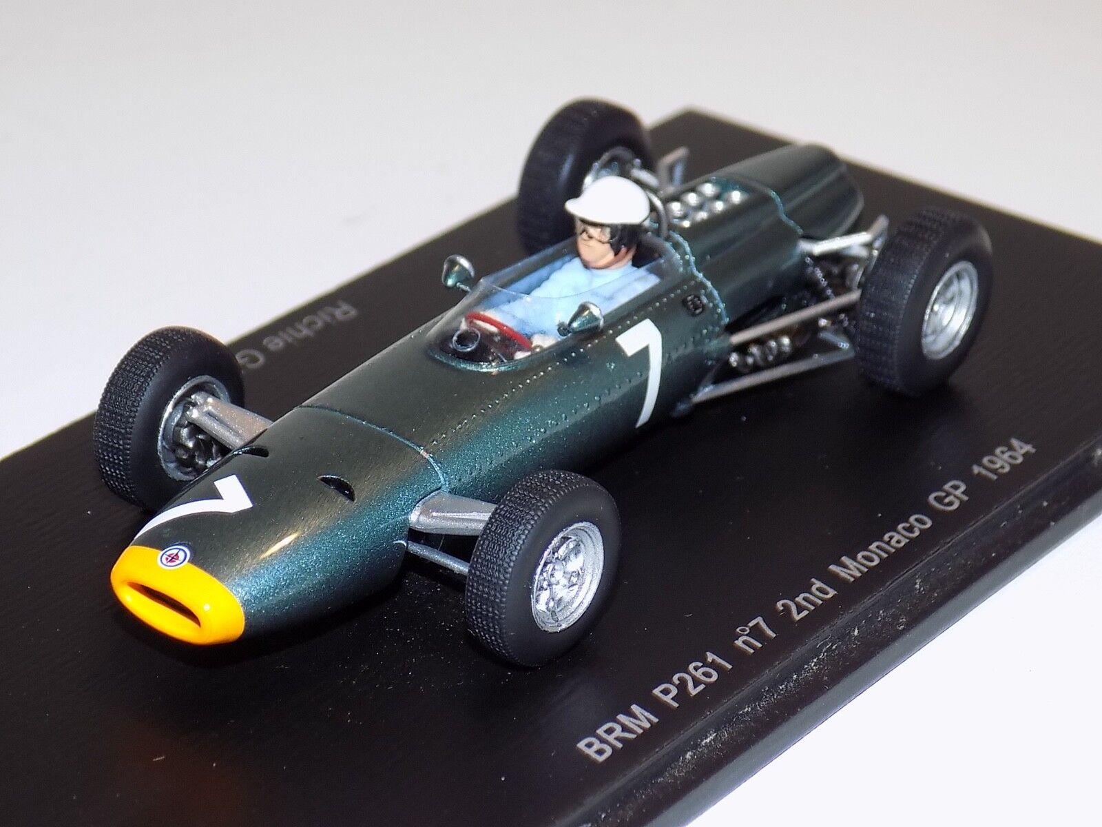 1 43 Spark F1 Formula  1 BRM P261 voiture  7 2nd in 1964 Monaco GP R.Gunter S1157  nouveaux produits nouveautés