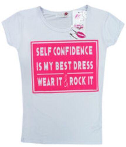 Kids Girls Self Confidence Print  Fashion T-Shirt Top  7 8 9 10 11 12 13 Years