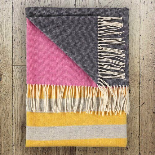 100% lambswool throw by Twig UK Finn Storm brand new with tags