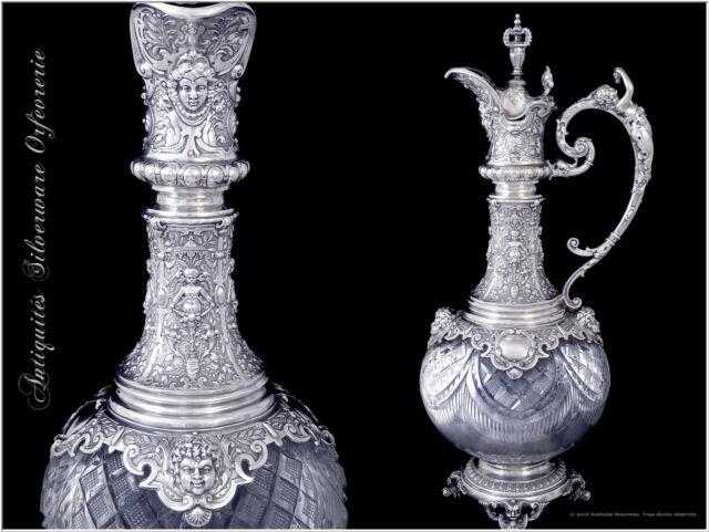 Aiguière Argent Massif & Cristal St. Neo-Renaissance Silver & Crystal Ewer XIX°s