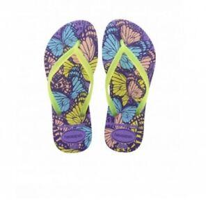 18381de89197 Image is loading havaianas-Slim-Fashion-Purple-Flip-Flops-Butterfly-Print-