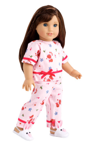 Perfect Sleepover 18 inch Doll Clothes, Pink Pajamas White Bunny Slippers