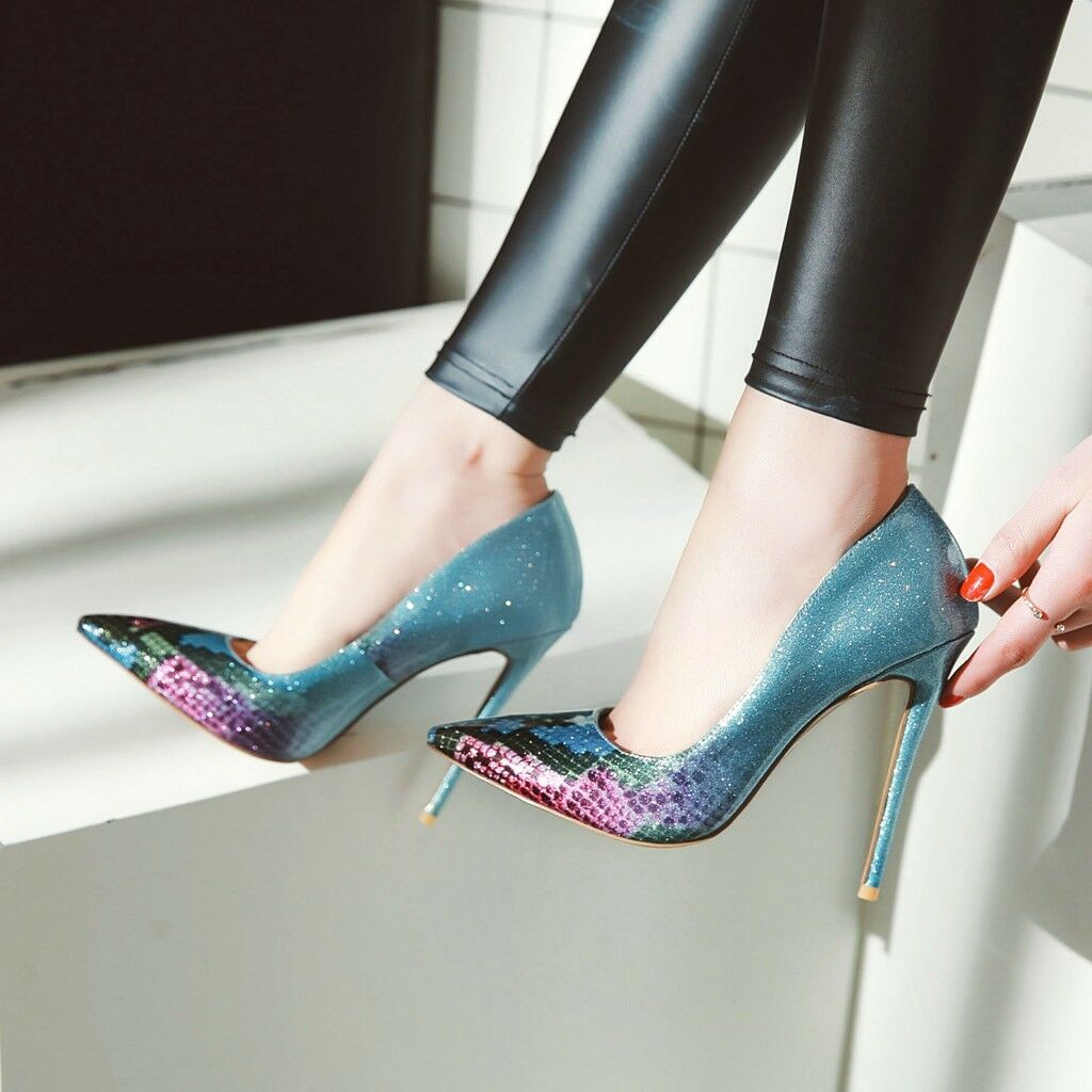 Sexy Damenschuhe Spitz High heels Stilettos Mehrfarbig Abendschuhe Neu Gr:33-48