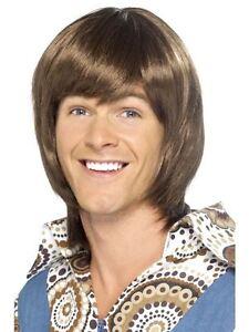 Short Brown Wavy Wig, 70's Heartthrob Wig, Popstar Fancy Dress Accessory