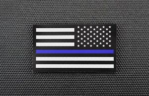 Infrared Thin Blue Line Reverse US Flag Patch Tan /& Black Police SWAT TBL IR