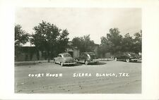 A View of 40's Autos Parked In Front Of The Court House, Sierra Blanca TX RPPC