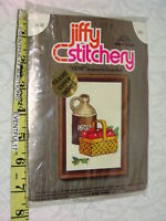 Vintage Jiffy Stitchery Cider Jug & Basket Of Apples Crewel Embroidery Kit 477