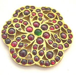 Vintage Rhinestone Poured Glass Pendant Gold Red Green Gripoix style Large