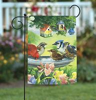 Toland - Bathing Birds - Colorful Spring Bird Bath Flower Garden Flag