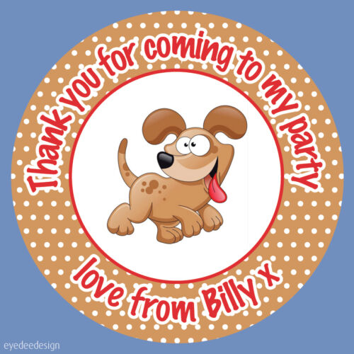 Personalised Cute Puppy Dog Birthday Stickers Party Thank You Sweets Cake N437