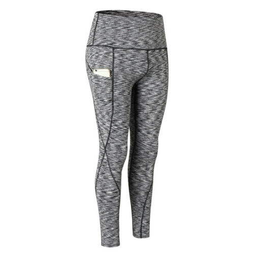 Womens Compression Tights Fitness Gym Yoga Pants Skinny with Pocket High Waist