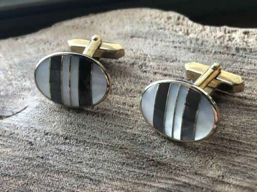 cufflinks antique French vintage mother of pearl MOP round face with mount and lever back brass tone metal formal wear dress shirt one pair