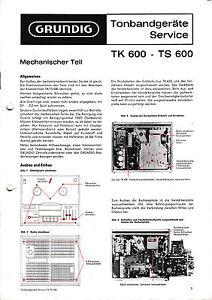 service manual anleitung f r grundig tk 600 ts 600 ebay. Black Bedroom Furniture Sets. Home Design Ideas