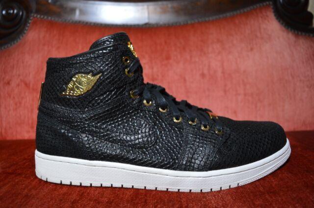 half off e11aa 9faa2 WORN 2X Nike Air Jordan 1 Pinnacle Black Metallic 24k Gold 705075-030 Size  14