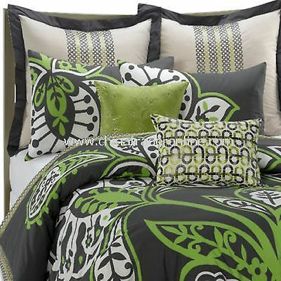 KAS TJANDRA Green Gray Twin Comforter Standard /& Euro Shams NIP CLOSEOUT 3 Pc