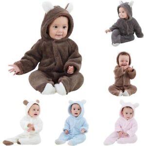 Newborn Baby Hoodie Jumpsuit Romper Kids Girl Boy Winter Clothes ... 7ca1143c3