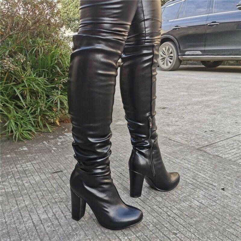 Mode Damen Rund Blockabsatz Kniehoch Stiefel Reiterstiefel Reitstiefel 45 46 47