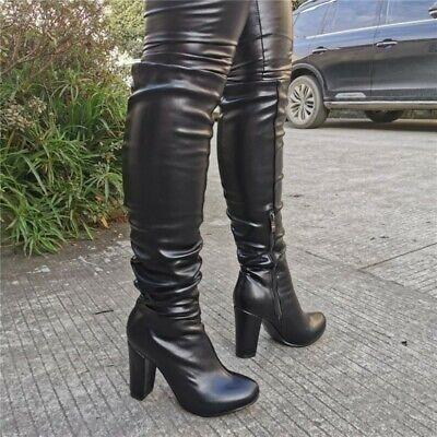 Women Rhinestone Mid Calf Knee High Boots Pleated Block High Heel Platform Shoes