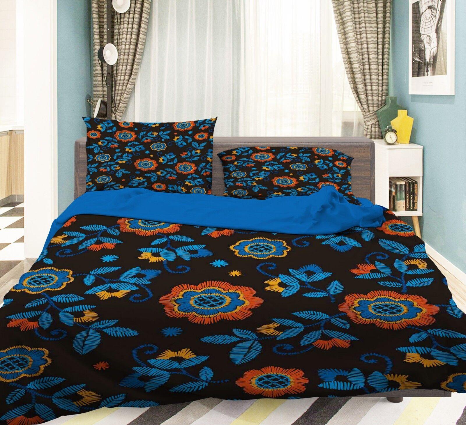 3D Painted Flowers 68 Bed Pillowcases Quilt Duvet Cover Set Single King UK Lemon