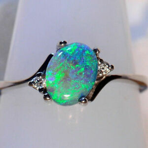 Opal-Silver-Gemstone-Ring-925-2-3Ct-Vintage-Party-Engagement-Wedding-Fire-Women