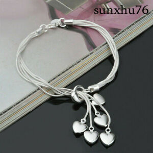Wholesale-Women-925-Silver-Heart-Bracelet-Bangle-Costume-Jewellery-Hand-Chain